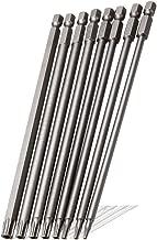 Saiper 8 Pieces 1/4 Inch Hex Shank Torx Security Head Screw Driver Bit Magnetic Star S2 Steel Screwdriver Set Bits T8-T40, 150mm/6 Inch Long