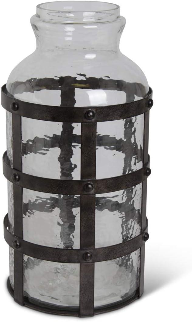 KK Interiors 16636A-3 20 Superlatite Inch Cheap Textured Jar Met in Glass Riveted
