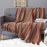 Manta Tribal étnica India con Estampado geométrico para sofá, decoración Bohemia, Manta De Sofá con Borlas, Cubre Sofás, Manta de Cama, Playa, Picnic 127 x 230 cm (Mojave)