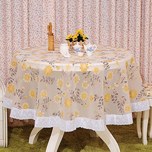 Nappe européenne Pastoral PVC Table ronde tissu imperméable à l'huile Floral imprimé dentelle bord en plastique table couvertures anti nappes de café chaud (Couleur : A, taille : Round-180cm)