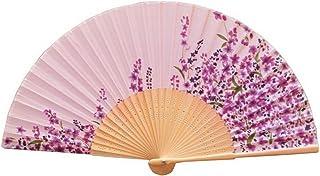 [ムラサキツユクサ属]ハンドヘルドシルク&竹扇子は、夏は涼しく保ちます