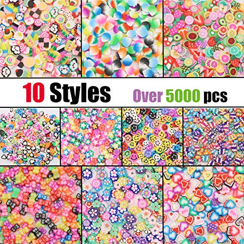 Crafare Mini 1/4 Inch 5000pc 3D Fruit Slice Face Nail Art Decorations Christmas Slime Making Supply for Sticking to Slime and Nail Art