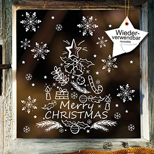 Wandtattoo-Loft Fenstersticker Tannenbaum Merry Christmas mit Schneeflocken WIEDERVERWENDBAR