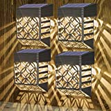 Nasharia Solar Deck Lights Outdoor, Solar Fence Light Wall Lights Led Garden Decorative Lighting Waterproof Decorative Step Lights for Post,Patio, Front Door, Step, Stair, Yard, Warm White, 4Pack