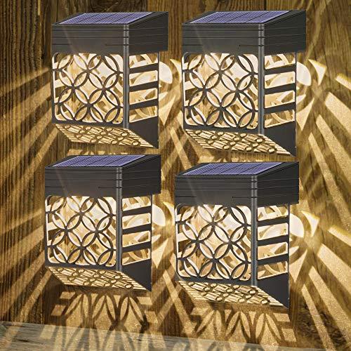 Solarleuchten für Außen - [4 Stück] Solar Wandleuchte Aussen, Wetterfeste Solar zaun beleuchtung, Solar-Zaunleuchten für Terrasse Hof und Einfahrt, Zaun, Terrasse, Haustür, Treppe, Landschaft