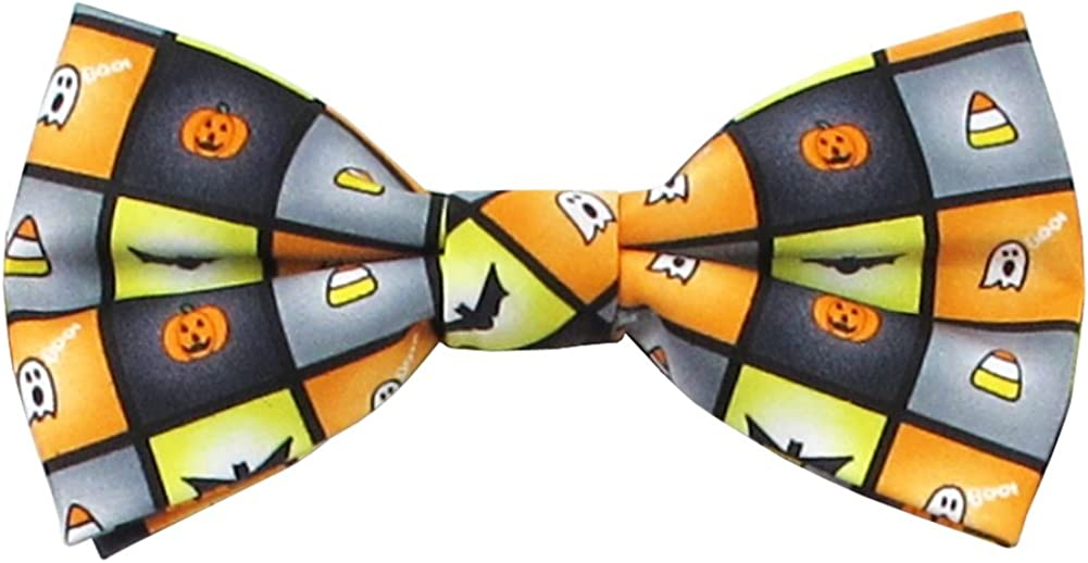 Men's Spooky Halloween Squares Jack-O'-Lantern Ghost Candy Corn Bats Pre-Tied Clip-On Bow Tie