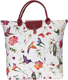 Signare Tapestry Red & White Re-usable Grocery Foldaway Shopping Bag in Hummingbird Designs (FDAW-HUMM)