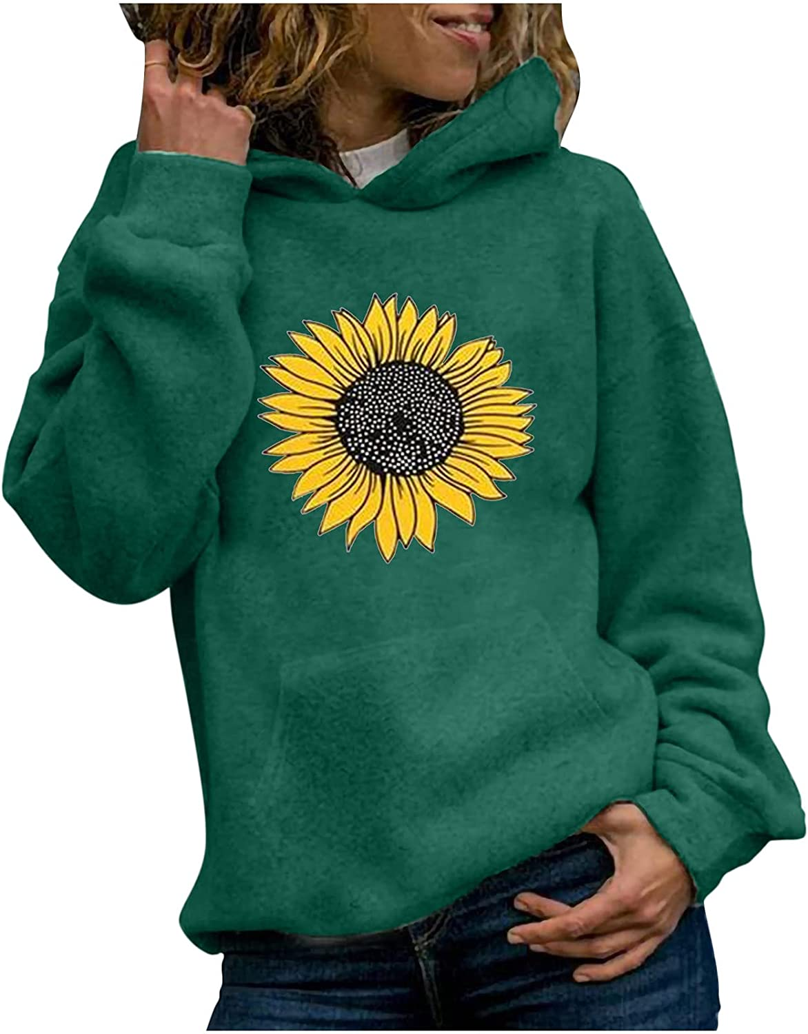 Sunflower Hoodie for Womens Fall Fashion Casual Long Sleeve Shirt Hooded Fit Tee Trendy Tops Blouse Pocket Sweatshirt