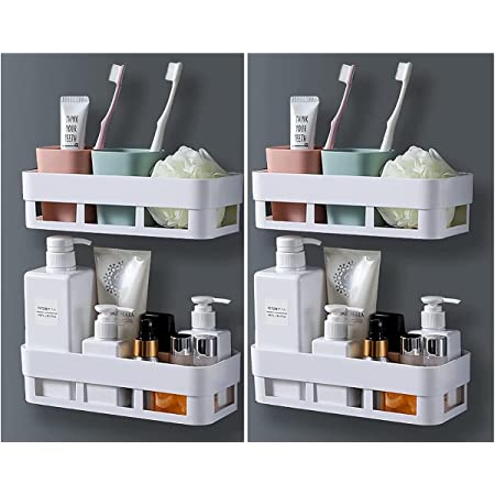 MorivaHomes Multipurpose Wall Mount Bathroom Shelf and Rack for Home and Kitchen. Adhesive Sticker Support Without Drilling. (4 Bathroom Shelf)