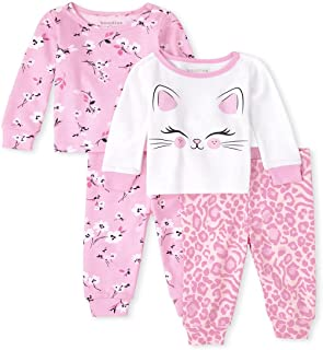 The Children's Place Baby Toddler Girls Cat Floral Snug Fit Cotton Pajamas 2-Pack