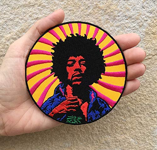 Rock Band Patches Hendrix Inspired Embroidered Iron on Sew Badge Patch Woodstock Sixties Music Rockstar Applique for Backpacks, Hats, Jackets, Jeans, etc.