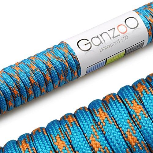 Ganzoo Paracorde 550 Corde, pour Bracelet ou Collier de Chien, 31 mètres, Bleu Orange