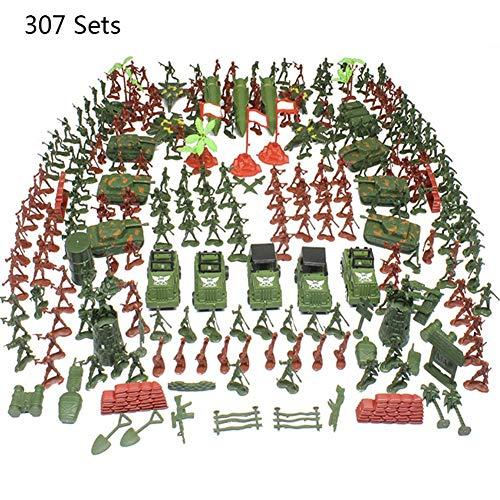 Set Da Gioco Militare Da 307 Pezzi - Soldatini Dell'esercito In 2 Colori, Figure Militari; Carri Armati; Aerei; Bandiere; Custodia Per Il Trasporto E Accessori Per Campi Di Battaglia Per Ragazzi