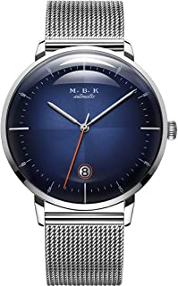 MBK Men's Automatic Fashion Wrist Watches Date Analog with Stainless Steel Mesh Band