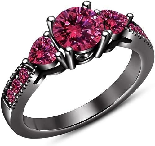Vorra Fashion Solitaire mit Akzente Verlobungsring für Damen Geschenk RundschlifüRosa Saphir 925 erling Silber