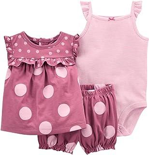 Conjunto de Ropa para Bebé Niñas Traje de 3 Piezas Camiseta de Algodón de Manga Corta + Body + Bermudas Trajes de Verano, ...