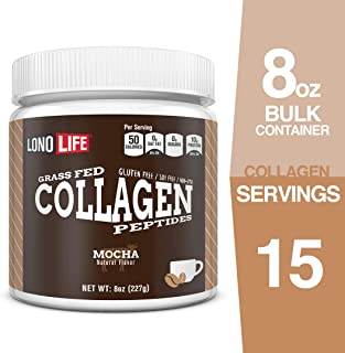 LonoLife Mocha Collagen Peptides with 10g Protein, 8-Ounce Bulk Container
