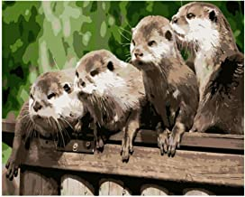 Bhhcr Paint by Numbers, Digital Painting Four Cute and Cute Otter Animal DIY Picture On Wall Decoration Children Gift(40X50Cm Frameless)
