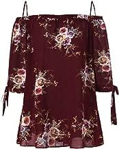 T-Shirt Big Fashion Women Plus Size Floral Print Cold Shoulder Blouse Casual Tops Camis
