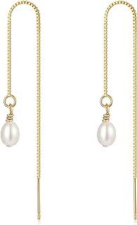 Gold Dangle Drop Earrings for Women 14K Gold Plated Cute Tassel Threader Chain Earrings Dainty Threader Earrings for Women