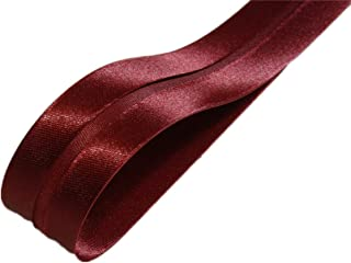 ILC MERCERIE PARADIS 5 mètres de Biais Uni Satin Polyester Couleur Bordeaux 20 mm plié (38 mm déplié) (X 5 Mètres) Finitio...