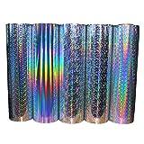 Pellicola olografica per plotter, con glitter, pellicola adesiva con glitter, pellicola decorativa in vinile, per adesivi decorativi (Rainbow, 63 cm x 5 m)