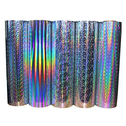 (7,94 €/m²) Hologramm Plotterfolie Glitzerfolie Plottfolie Klebefolie Glitzer Folie Dekofolie Glitter Oilslick Vinyl für Aufkleber Dekor Plotten (Rainbow, 31,5cm x 5m)