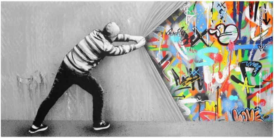 HYFBH Gemälde auf Leinwand hinter dem Vorhang Graffiti-Kunst Poster und Drucke Straßenwandkunst Bild für Wohnzimmer Wohnkultur 80 x 160 cm (32 x 63…
