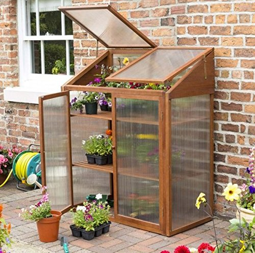 Rowlinson Robust Hardwood Mini Greenhouse - Made From Eucalyptus Wood - Twin Walled Polycarbonate Glazed Panels