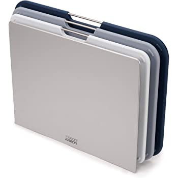 Joseph Joseph Nest Plastic Cutting Set with Storage Stand 3 Different Sized Boards, Large, Gray