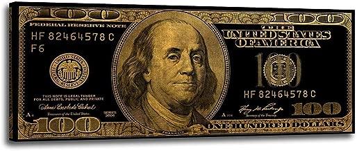 Graffiti Art 100 Bill Cash American Currency Money Benjamin Franklin Dollar Money Pop Art Wall Art Deco Print Poster for Office Wall Art (Black, 24