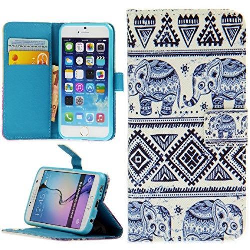 Handy Lux® Schutz Hülle Tasche Kartenfächer Flip Hülle Etui Cover Involto Motiv Design Hülle BookStyle für Samsung Galaxy S3 / S3 NEO, Hindi Elefant
