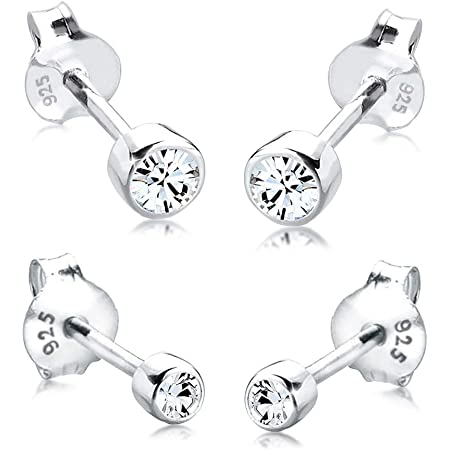 Elli Pendientes para damas set básico con cristales en plata esterlina de ley 925