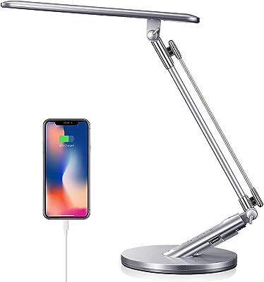Lampe de Bureau LED, Lampe de Bureau Pliable, Lampe de Bureau 14W, 4 Couleurs 7 Luminosité Réglable, Fonction Mémoire, Commande Tactile, Sortie USB 5V/1A