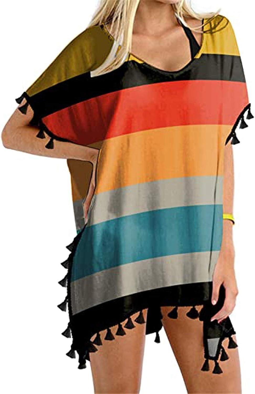 JUNGE Women's Swim Cover Up,American Flag Bikini Cover Up Cow Print Swimsuit Top Beach Bathing Suits Chiffon Swimwear