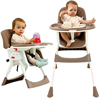 Silla Alta para Bebé Asiento Elevador y Ajustable Silla para Niños Pequeños con Mesa de Comer Sillas de PU de Seguridad para Bebés