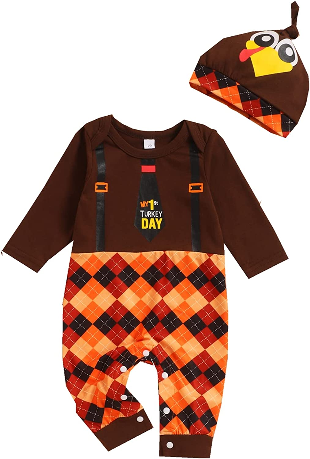 Newborn Baby Boy Thanksgiving CLothes My first Thanksgiving Outfit Cut Long Sleeve Romper Wiyh Hat 2 Psc Overall Outfit Set