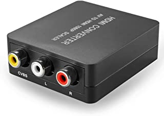 TNP RCA Composite AV CVBS to HDMI Converter - Audio Video Mini Converter Adapter Box Connector Upscaler to Full HD 720P 1080P Format Ouput for TV, Wii, PS2, Nintendo NES