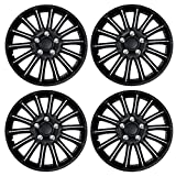 Tuningpros WC3-15-1007-B - Pack of 4 Hubcaps (Not Fit on Bolt On Type Wheel) - 15-Inches Style Snap-On (Pop-On) Type Matte Black Wheel Covers Hub-caps
