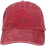 Gorra de béisbol ajustable de algodón lavado vintage lavado para papá con diseño de voleibol de playa, gorra de béisbol para exteriores, color rojo