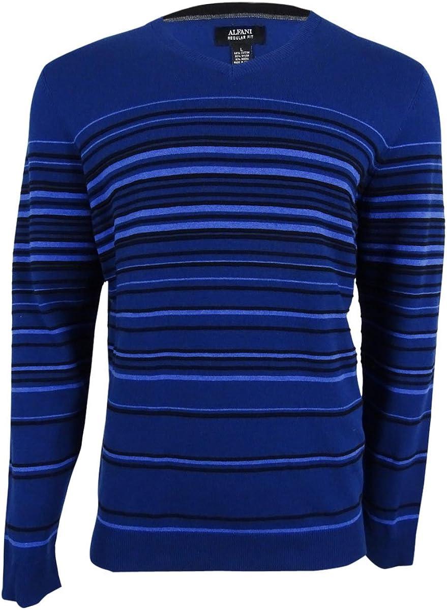Alfani Mens Striped V-Neck Pullover Sweater Blue XL