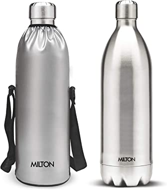 Milton Duo DLX 1500 Thermosteel 24 Hours Hot and Cold Water Bottle, 1.5 Litre, Silver