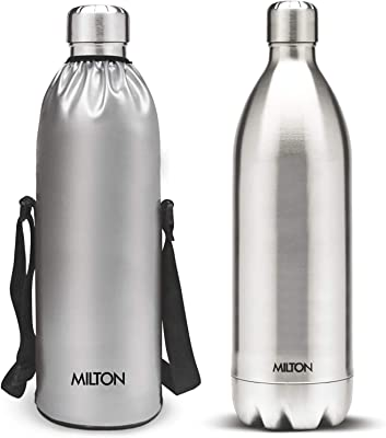 MILTON Duo DLX Stainless Steel Hot and Cold Water Bottle, 1.5 Litre, 1 Piece, Silver