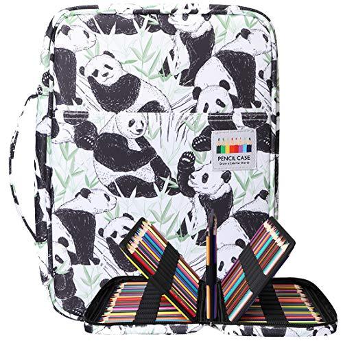 BOMKEE 220 ranuras estuche de lápices de colores, impermeable bolsa para dibujar, pintar, almacenamiento de papelería multicapa bolígrafos de gel organizador(White Panda)