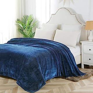 Bourina Flannel blanket throw Lightweight Cozy Plush Microfiber Solid fleece Blanket,King size 108 * 90 Inch,Navy