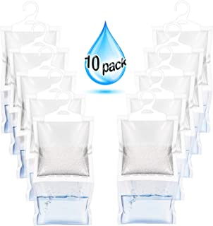 ZMFH 10 Pack Moisture Absorber Hanging Bags, No Scent Max Odor Eliminator, 220g Dehumidification Bags for Closets, Bathrooms, Laundry Rooms, Pantries, Storage