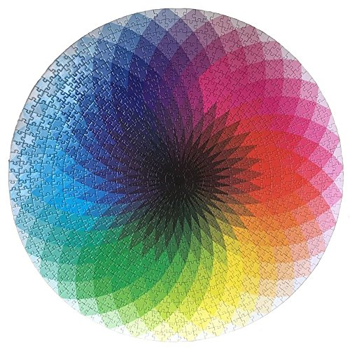LRRH 1000 Pcs Round Jigsaw Puzzles Rainbow Palette...