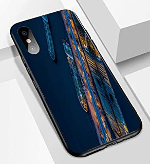 iPhone X/XS Ultra-Thin Glass Back Phone case,Aerial View Crude Oil Tanker Soft and Easy to Protect The Protective case