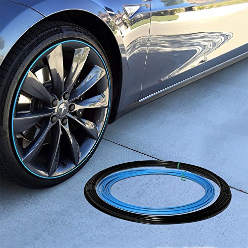 Upgrade Your Auto Wheel Bands Sky Blue Insert in Black Track Pinstripe Rim Edge Trim