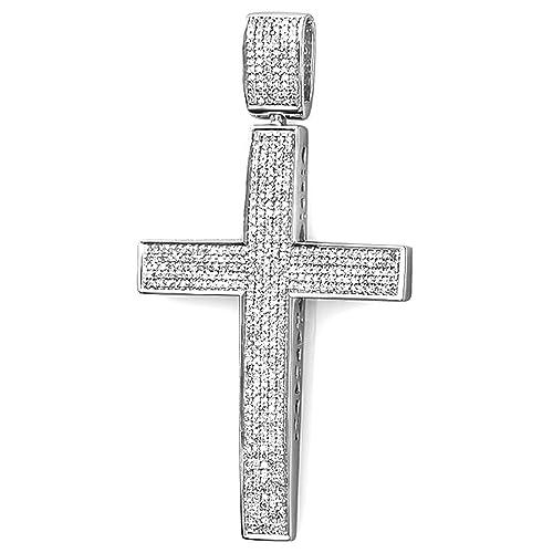 8bb733e2943a Dazzlingrock Collection 1.00 Carat (ctw) Round Diamond Men s Hip Hop  Religious Micro Pave Cross